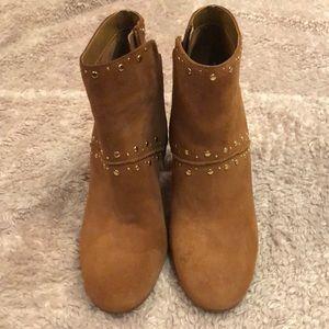Brown Sam Edelman studded booties